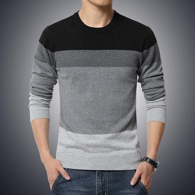Pánský pruhovaný svetr - 3 barevné kombinace 1