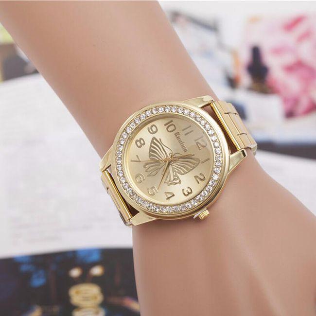 Dámské hodinky s motýlkem a kamínkem - 3 barvy 1