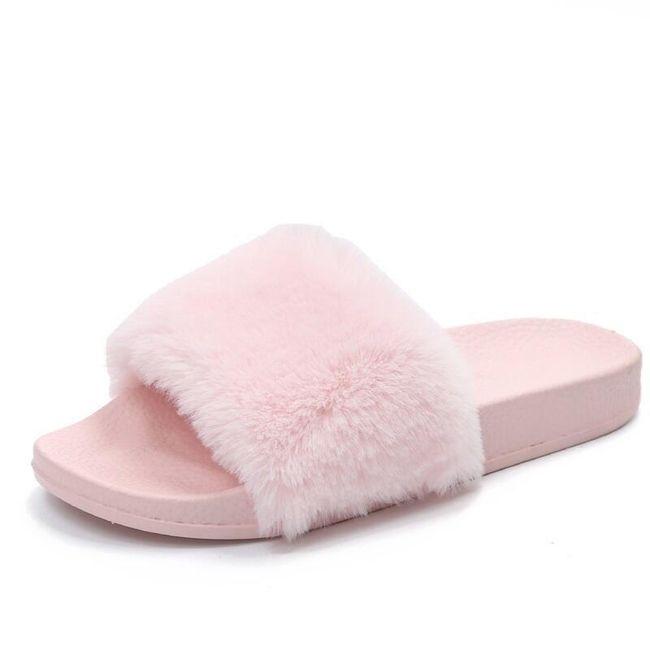 Chlupaté pantofle - růžová-6 1