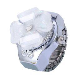 Zegarek w pierścionku z kwiatkiem