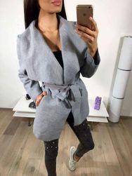 Krátký flaušový kabát - šedý