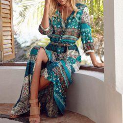 Volné bohémské šaty s tříčtvrtečními rukávy - Zelená-L/XL