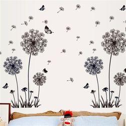 Samolepka na zeď - pampelišky a motýlci