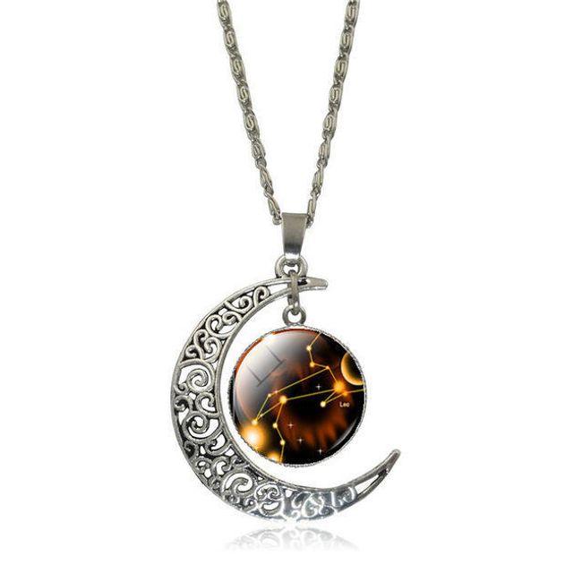 Veriga z obeskom lune in medaljonom s konstelacijo - 12 barv 1