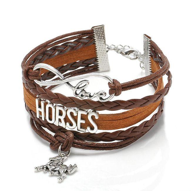Večplastna zapestnica s konjskimi motivi 1