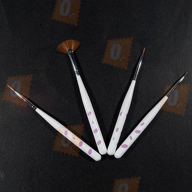 Štětce na zdobení nehtů - bílé 1