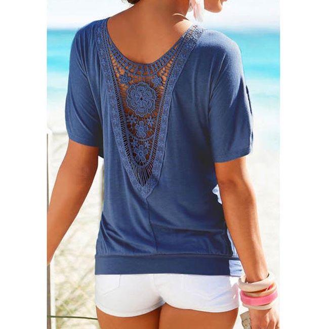 Dámské tričko s krajkovými květy na zádech - modrá, velikost 2 1