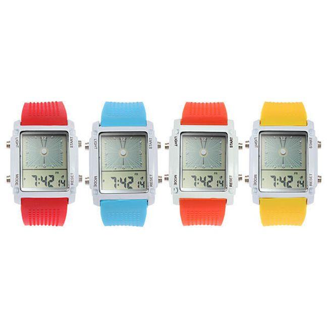 Multifunkční silikonové hodinky s LED podsvícením unisex - na výběr z 5 barev 1