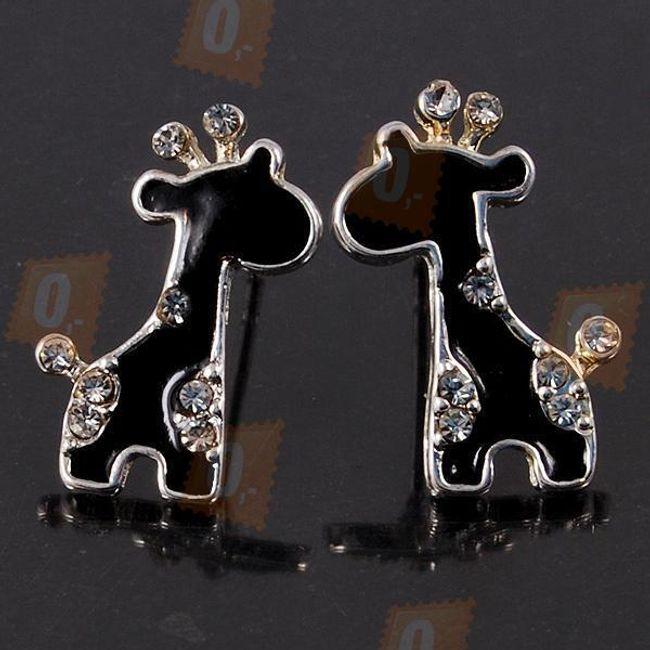 Kolczyki w kształcie żyrafy - czarne z błyszczącymi kamyczkami 1