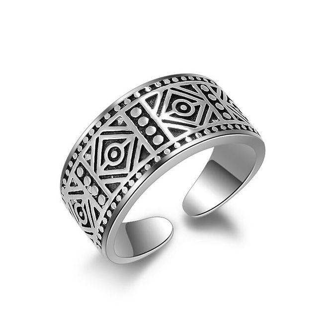Dámský antický prstýnek - stříbrná barva 1