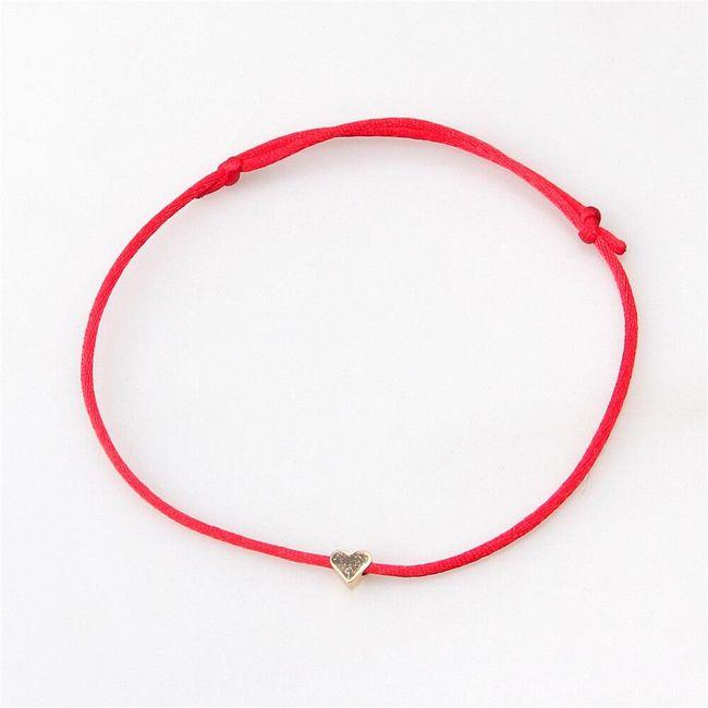 Romantična jednostavna narukvica sa srcem - 6 boja 1