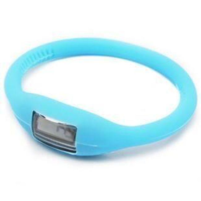 Digitální silikonové hodinky ION - Světle modrá 1