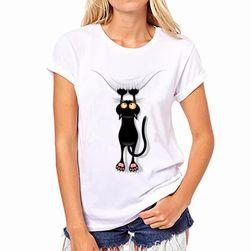 Женская футболка с рисунком кошки- 11 вариантов