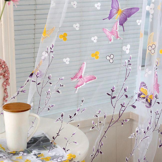 Тюль с бабочками- 2 цвета 1