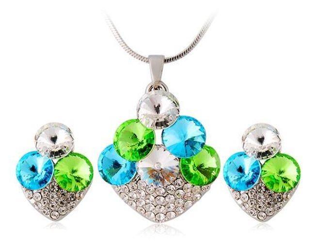 Set náhrdelníku a náušnic s barevnými kamínky - ve 2 provedeních 1