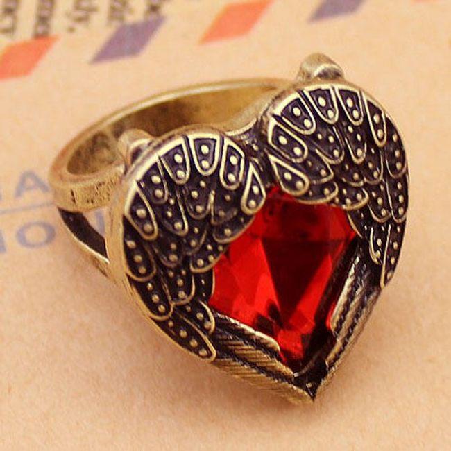 Vintage pierścień z czerwonym kamieniem 1