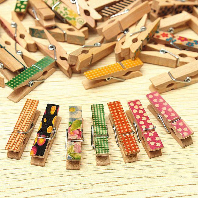Fa mini dekoratív csipesz - 50 darab 1