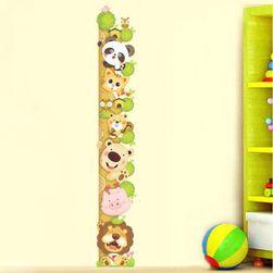 Dětský metr na zeď s roztomilými zvířátky