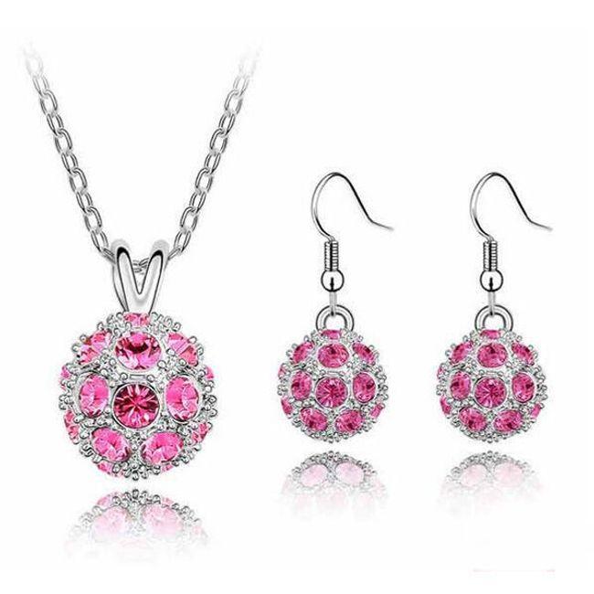 Elegancki zestaw biżuterii - kolczyki i naszyjnik, 6 kolorów 1