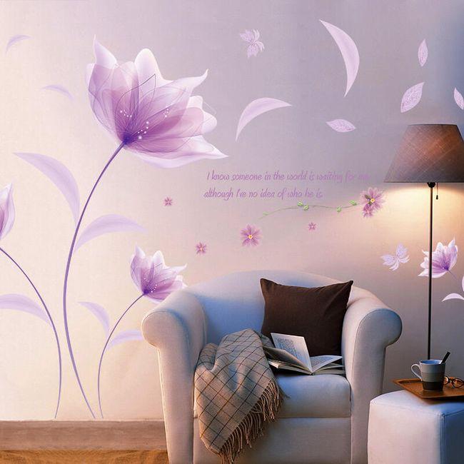 Nalepnica za zid sa ljubičastim cvetovima 1