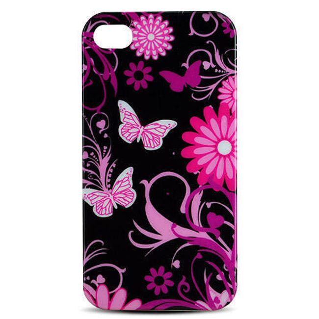 Plastový ochranný kryt na iPhone 4 a 4S - motiv květiny a motýli 1