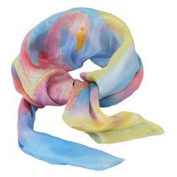 Hedvábný ručně malovaný šátek Plameňáci
