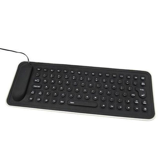 Silikonová USB klávesnice - voděodolná, černá 1
