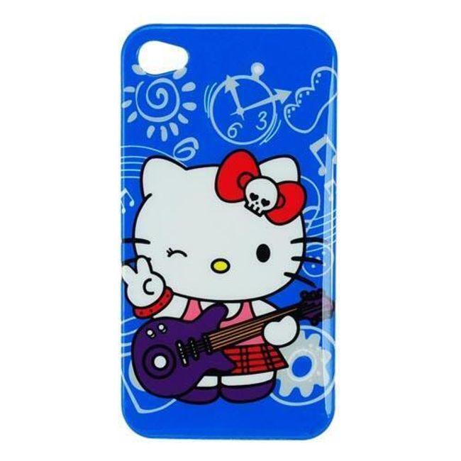 Plastový ochranný kryt na iPhone 4 a 4S - Hello Kitty modrý 1