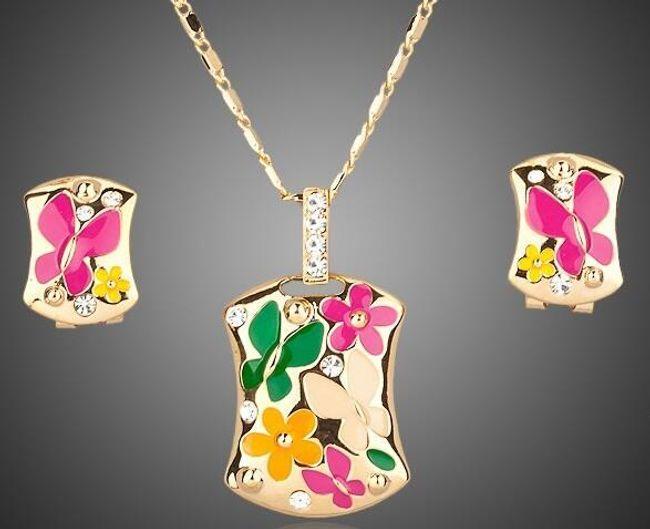 Náušnice s náhrdelníkem s kamínky 1