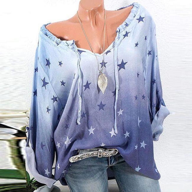 Volná halenka s hvězdičkami - Modrá - velikost č. 5 1