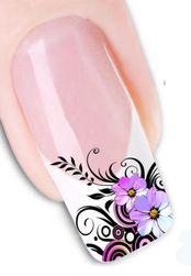 Стикери за нокти с лилави цветя