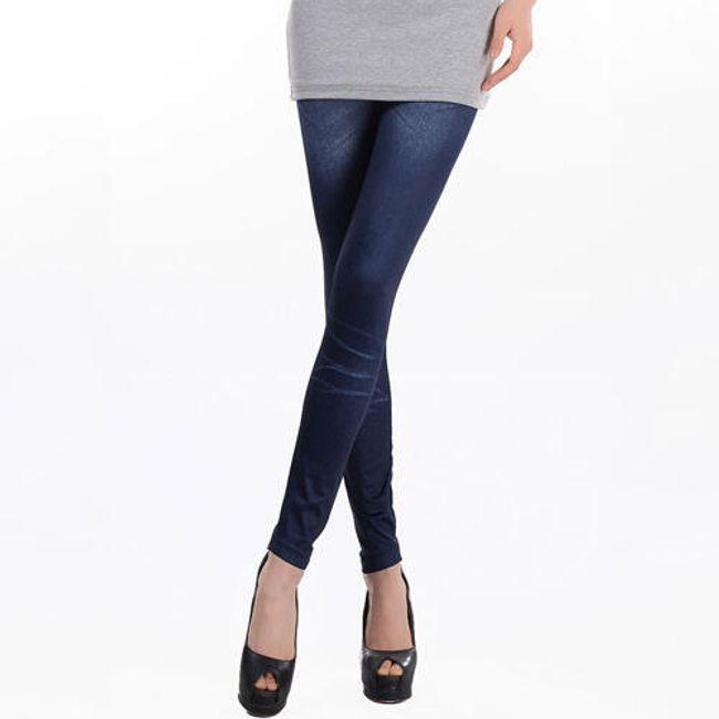 Legginsy w imitacji ciemnoniebieskich jeansów 1