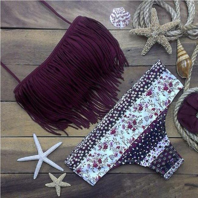 Krásné dámské střapcové plavky ve fialové barvě - velikost č. 4 1