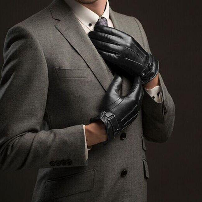 Elegáns férfi PU bőrkesztyű.