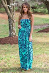 Długa letnia sukienka bez ramiączek - 3 kolory