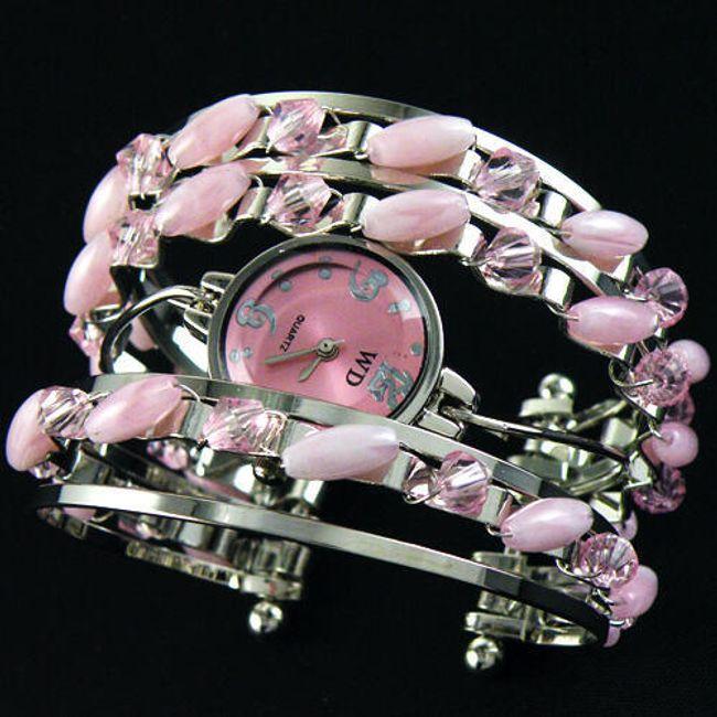 Elegantní dámské hodinky v podobě náramku - růžové 1