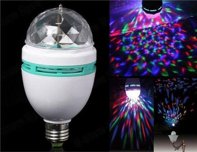 Rotační LED žárovka s RGB barvami - 6 W 1