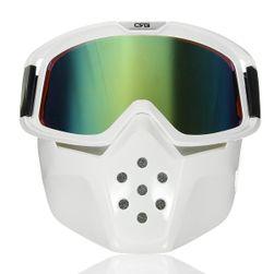 Odnímatelná ochranná maska na obličej + ochranné brýle (bílá/zelená verze)