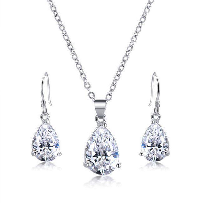Elegantní sada šperků s čirými kameny 1