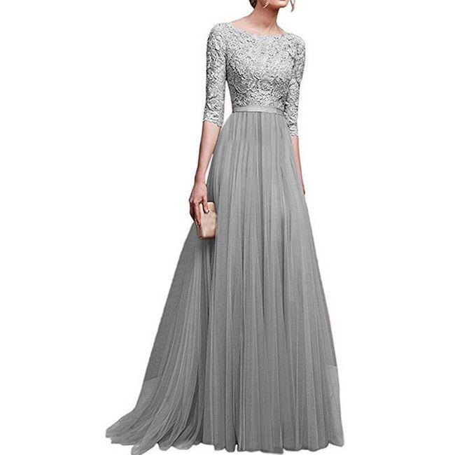 Společenské šaty s tříčtvrtečním rukávem - Šedá-velikost č. 6 1