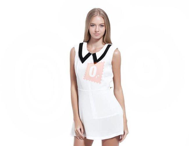 Dámské krátké bílé šaty bez rukávů - vel. S 1