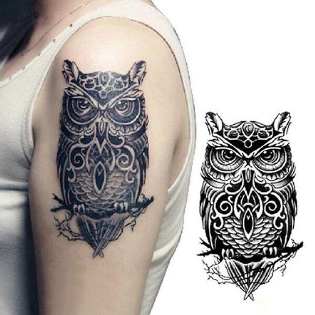 Переводная татуировка- Сова 1