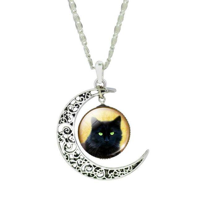 Dámský náhrdelník s půlměsícem a kočkou 1