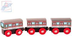 WOOD Zestaw pociągu metra 3 wagony akcesoria do toru kolejowego  SR_DS11575158