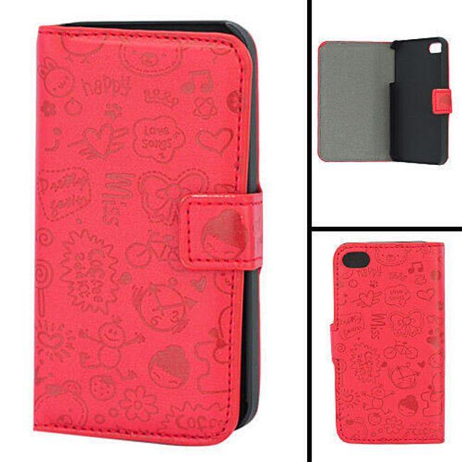 Koženkové designové ochranné pouzdro na iPhone 4 a 4S - červený leisure time 1