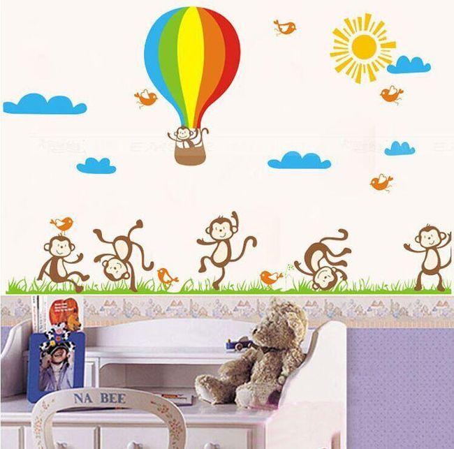 Nálepka s opičkami do dětského pokoje 1