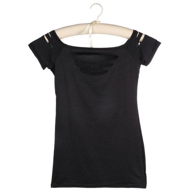 Dámské potrhané tričko v černé barvě - vel. 6 1