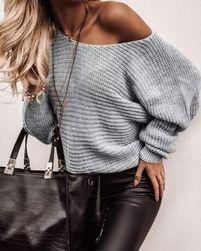 Női bő pulóver - szürke