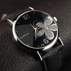 Dámské hodinky s motivem květiny - černá