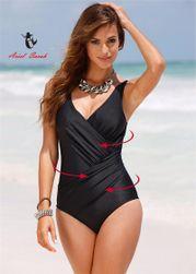 Zeštíhlující smyslné jednodílné plavky - Černá 4XL